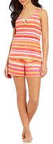 Lauren Ralph Lauren Striped Jersey Keyhole Pajamas