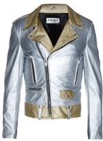 Saint Laurent Metallic-leather biker jacket