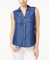 Maison Jules Chambray Sleeveless Shirt, Only at Macy's