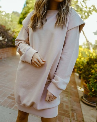 The Drop Women's Rose Dust Power Shoulder Oversized Sweatshirt Dress by @spreadfashion XS