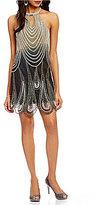 Pisarro Nights Petite Halter Neck Sleeveless Ombre Beaded Sheath Dress