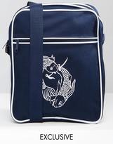Reclaimed Vintage Flight Bag With Koi Carp Print