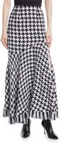 Oscar de la Renta Houndstooth Tweed Maxi Skirt w/ Leg Slit