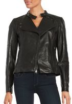 Karl Lagerfeld Asymmetrical Zipper Leather Moto Jacket