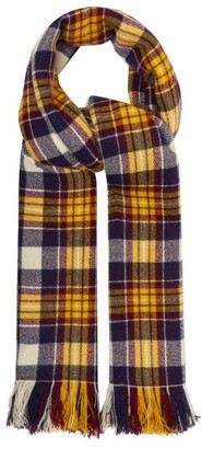 Isabel Marant Carver Checked Cashmere Blanket Scarf - Womens - Yellow Navy
