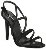 Collection black satin 'Nadia' strappy sandals
