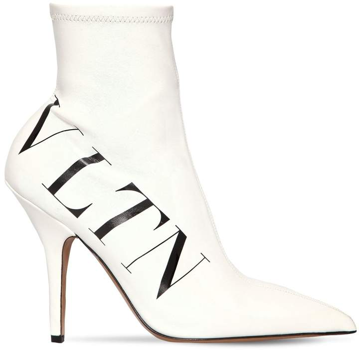 Valentino 100mm Vltn Stretch Faux Leather Boots