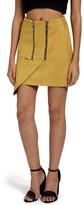 Missguided Women's Double Zip Faux Suede Miniskirt
