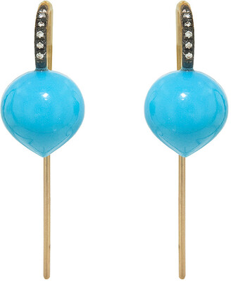 Cathy Waterman Turquoise Forest Dew Drop Yellow Gold Earrings