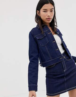 Northmore Denim organic cotton rinse wash cropped denim jacket-Tan