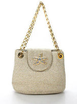 Eric Javits White Gold Metallic Woven Small Embellished Chain Baguette Handbag