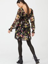 Very Georgette Shirred Tea Dress - Print