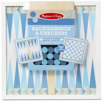 Melissa & Doug Double-Sided Wooden Backgammon & Checkers Board Game