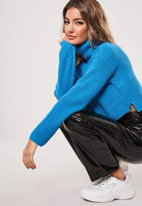 Missguided Blue Roll Neck Cropped Jumper