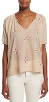The Great The Hacienda Embroidered Top, Tan