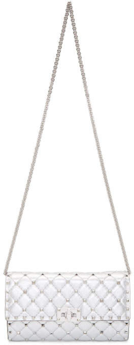 Valentino Silver Garavani Small Metallic Rockstud Spike Chain Bag
