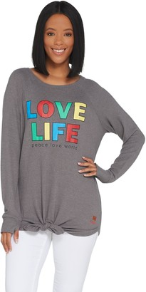 Peace Love World Tie Front Long Sleeve Comfy Knit Top