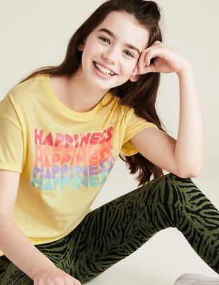 Marks and Spencer Organic Cotton Happiness Slogan T-Shirt (6-14 Yrs)