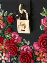 Dolce & Gabbana floral embroidered box bag - women - Leather/metal/glass - One Size