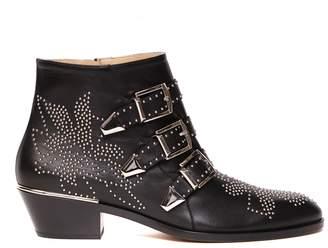 Chloé Texan Black Leather Ankle Boots