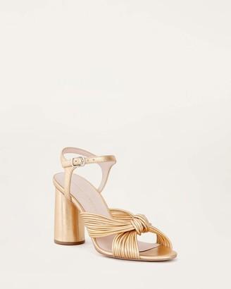 Loeffler Randall Cece Knot Ankle Strap Heel Gold
