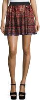 Romeo & Juliet Couture Southwestern Print Flutter Skirt, Rust/Black/Blue