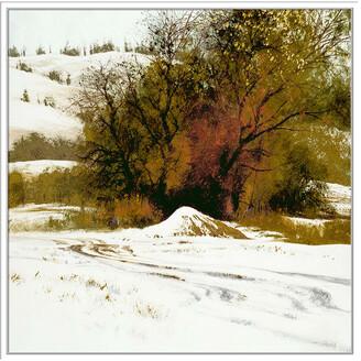 Jonathan Bass Studio Winter Crimson, Decorative Framed Hand Embellished Canvas