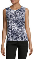 Kasper Suits Pleated Floral Sleeveless Top