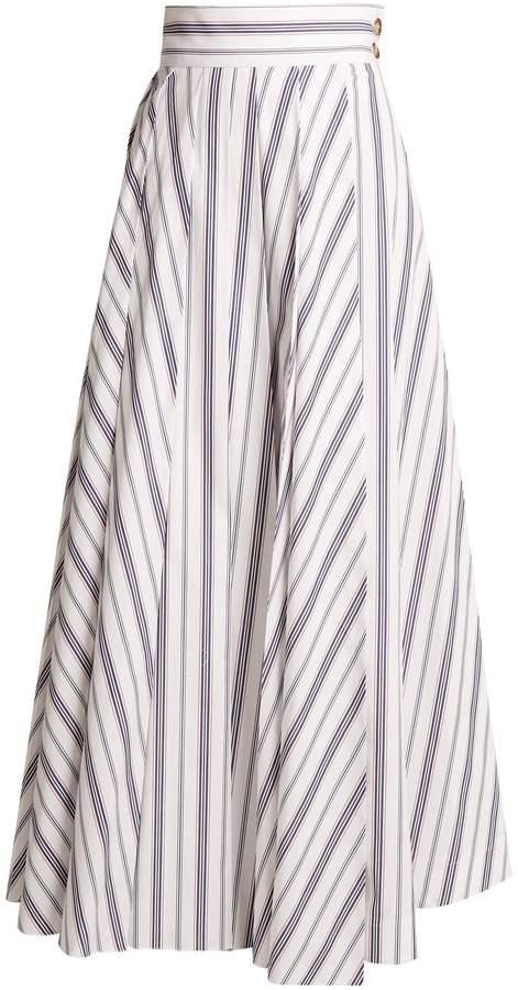 Awake Striped cotton maxi skirt