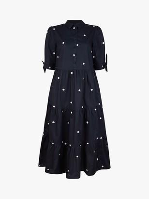Monsoon Poplin Spot Midi Dress, Navy