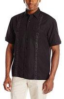 Cubavera Men's Short Sleeve 2 Pocket Tucking Panel Woven Shirt