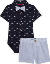Andy & Evan Andy & Even Navy Shark Polo Bodysuit & Shorts Set
