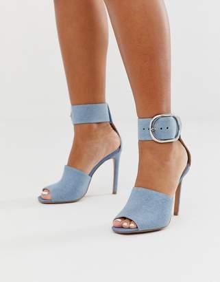 Asos Design DESIGN New York high heeled sandals in denim-Blue