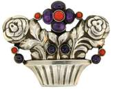 Georg Jensen Amethyst Coral Silver Flower Basket Pin Brooch Clip