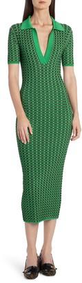 Fendi Gingham Jacquard Midi Body-Con Sweater Dress