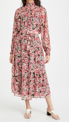 En Saison Floral Print Smocked Midi Dress