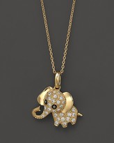 Bloomingdale's Diamond Elephant Pendant Necklace in 14K Yellow Gold, .20 ct. t.w., 16.5""
