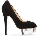 Charlotte Olympia Black Suede & Perspex Dolly Heels