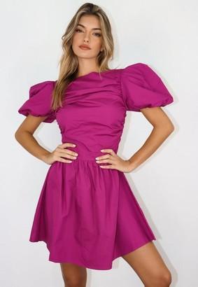 Missguided Plum Cotton Poplin Puff Sleeve Skater Dress