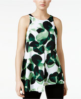 Alfani Petite Leaf-Print Asymmetrical Top, Only at Macy's
