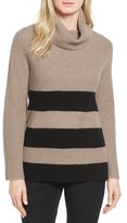 Petite Women's Halogen Ribbed Cashmere Turtleneck Sweater