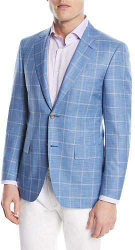 Canali Wool/Silk Windowpane Two-Button Sport Coat