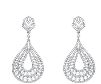 Genevive Silver Cz Pear Drop Earrings