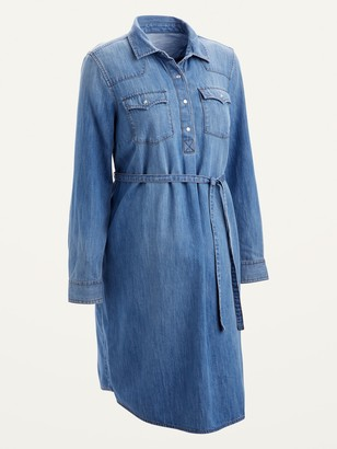 Old Navy Maternity Western Jean Tie-Belt Shirt Dress