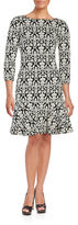Ivanka Trump Plus Damask Jacquard Three Quarter Sleeve A-Line Dress