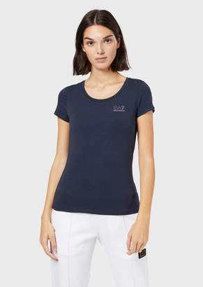 Emporio Armani Ea7 Jersey T-Shirt With Small Rhinestone Logo