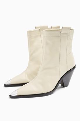 Topshop Womens Mellie Buttermilk Western Toe Cap Boots - Buttermilk