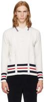 Thom Browne White Cricket Stripe Trompe L'Oeil V-Neck Cardigan Polo