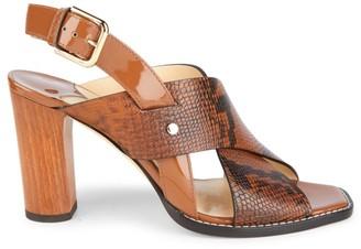 Jimmy Choo Aix Snakeskin-Embossed Leather Slingback Sandals