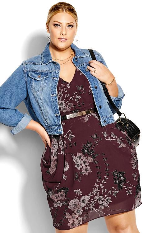 City Chic Bold Blossom Wrap Dress - bordeaux